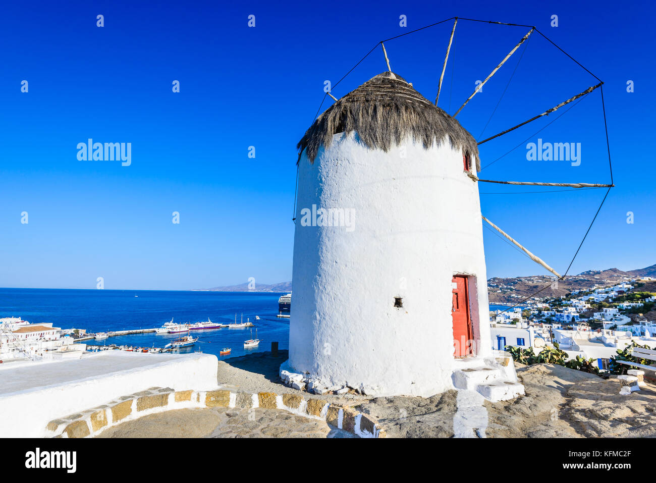 Mykonos, Greece. Windmills are iconic feature of the Greek island of the Mykonos, Cyclades Islands. - Stock Image