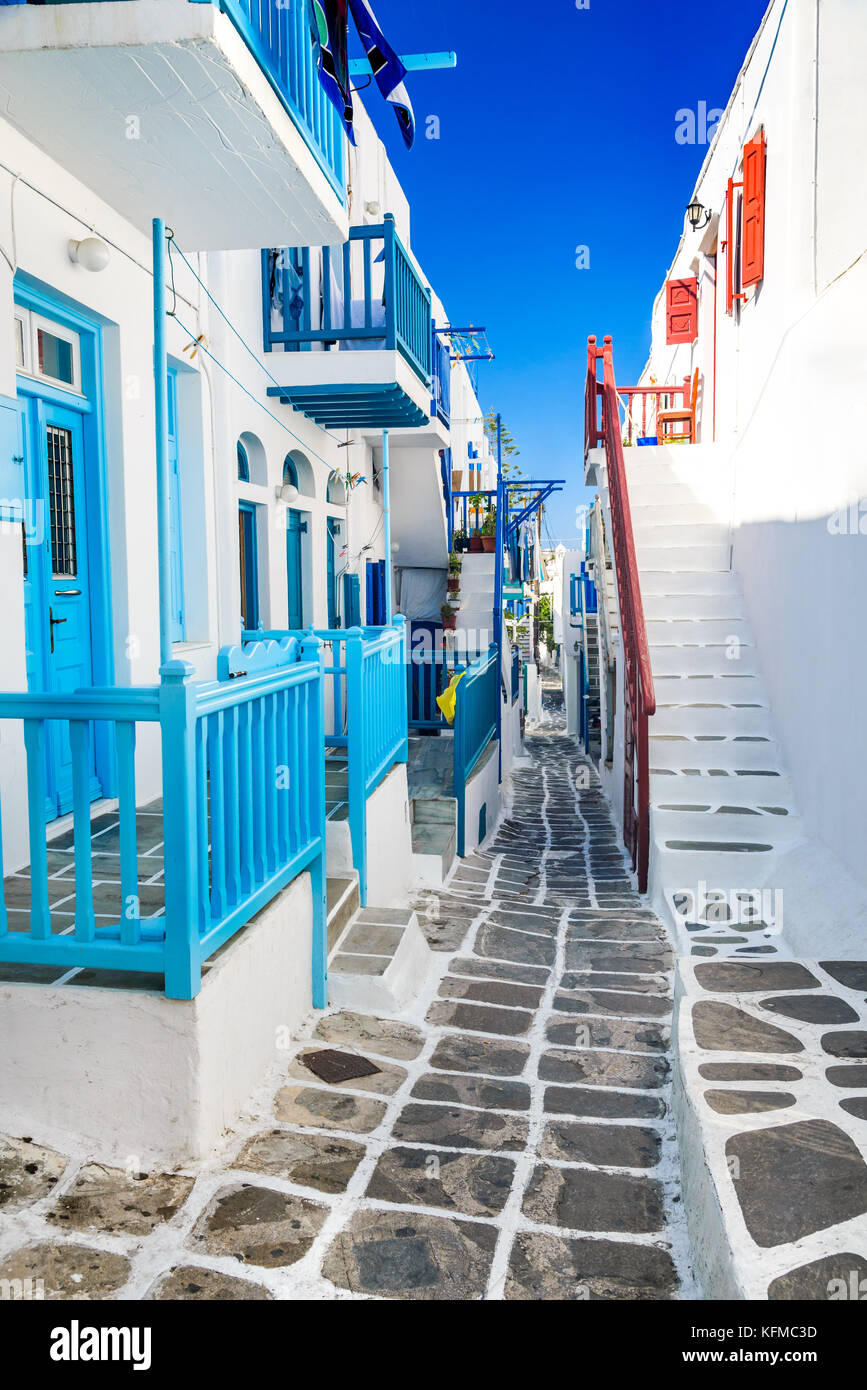 Mykonos, Greece. Whitewashed dotted alley in old city, Cyclades Greek Islands. - Stock Image