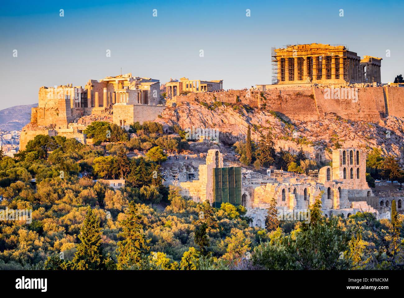 Athens, Greece. Acropolis, ancient ruins of Greek Civilization citadel with Parthenon temple. - Stock Image