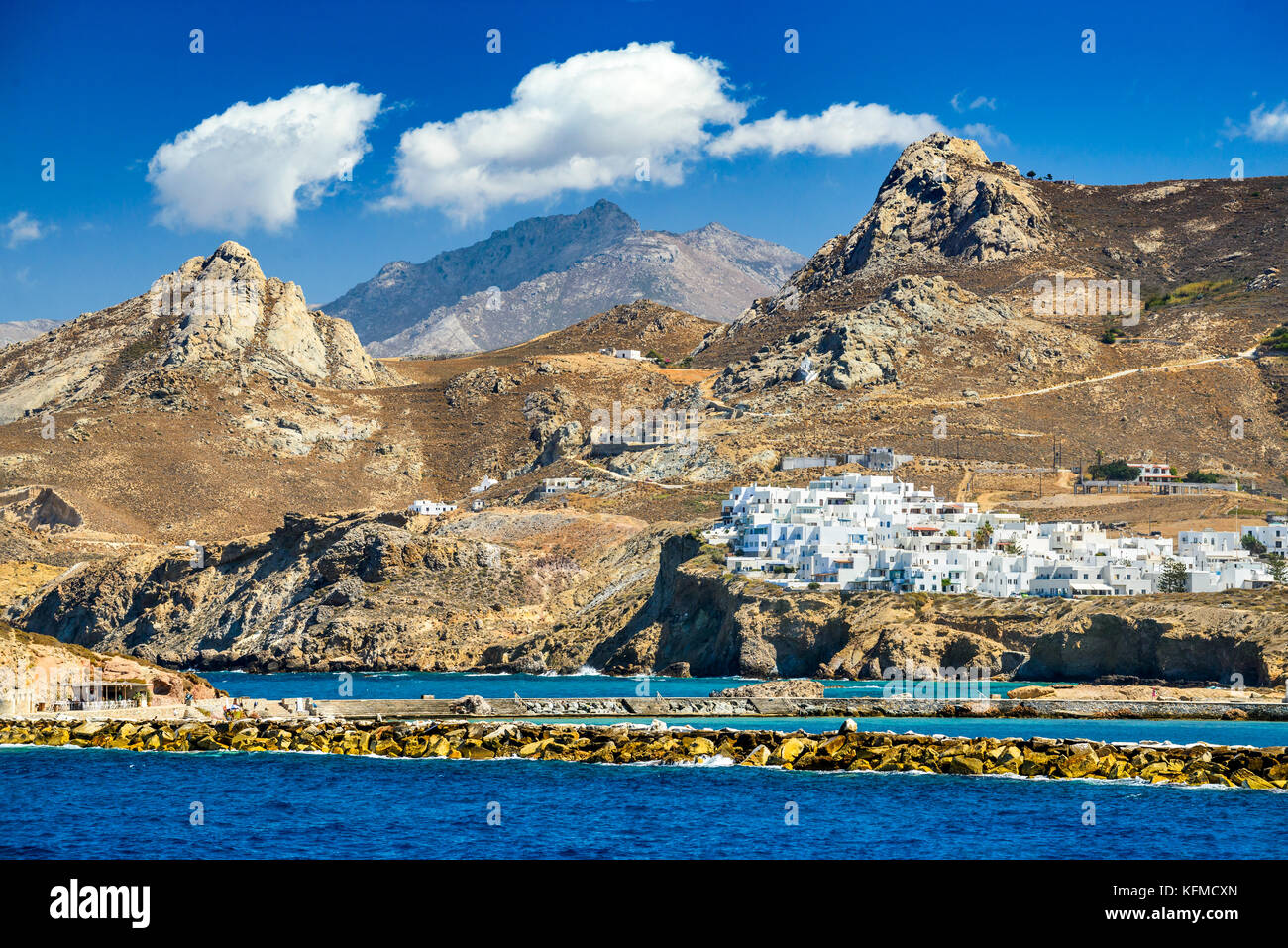 Naxos, Greek Islands. Sunny summer landscape with rocky island, Cyclades in Greece. - Stock Image