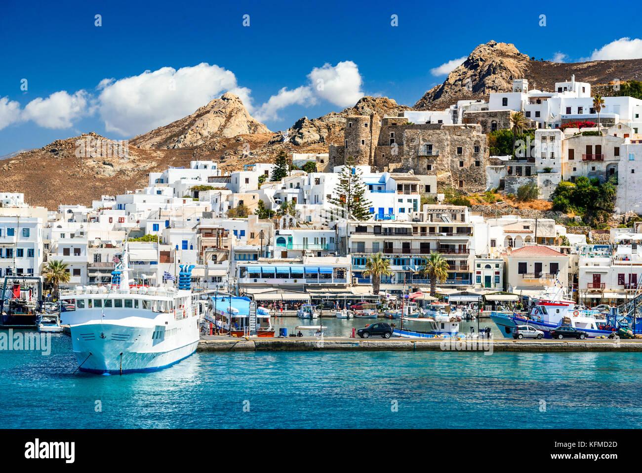 Naxos, Greek Islands. Sunny summer landscape with rocky island, Cyclades in Greece. Stock Photo