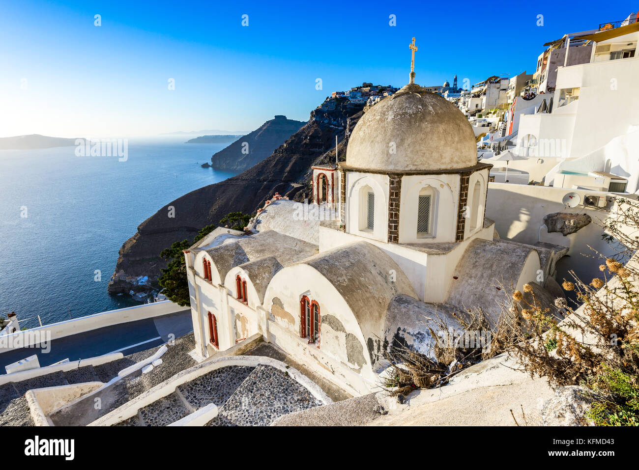 Santorini, Greece. Fira, with old greek church and caldera at Aegean Sea, Thira. - Stock Image