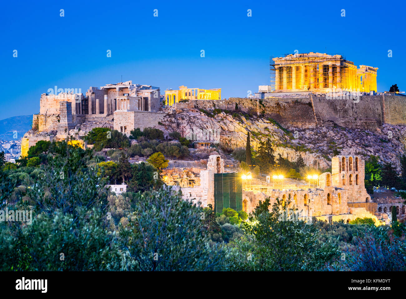 Athens, Greece - Night view of Acropolis, ancient citadel of Greek Civilization. - Stock Image