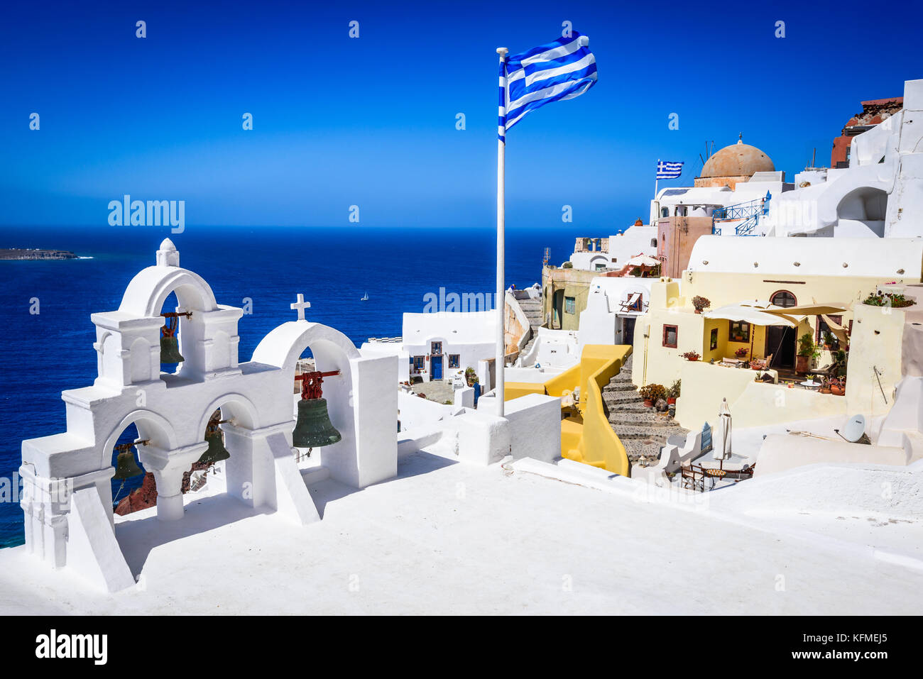 Santorini, Greece. Famous attraction of white Oia city, Greek Cyclades Islands, Aegean Sea. - Stock Image