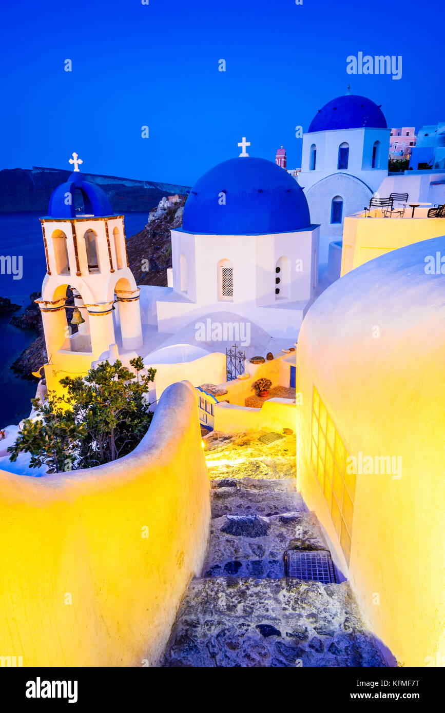 Santorini, Greece. Oia, white village with cobbled narrow paths, famous attraction of Greek Cyclades Islands, Aegean - Stock Image