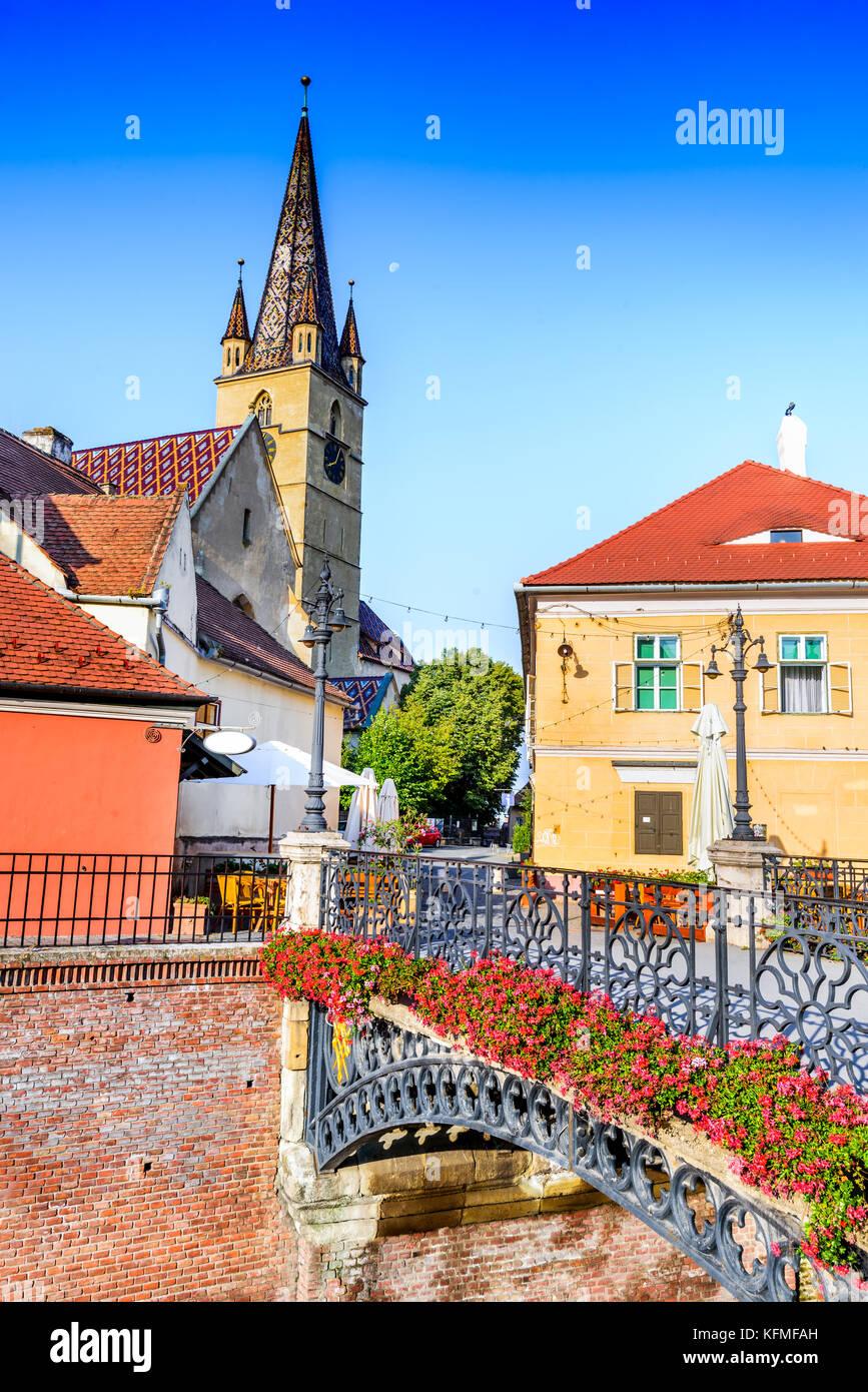 Sibiu, Romania - The Liars Bridge, in old downtown of Transylvania saxon city. - Stock Image