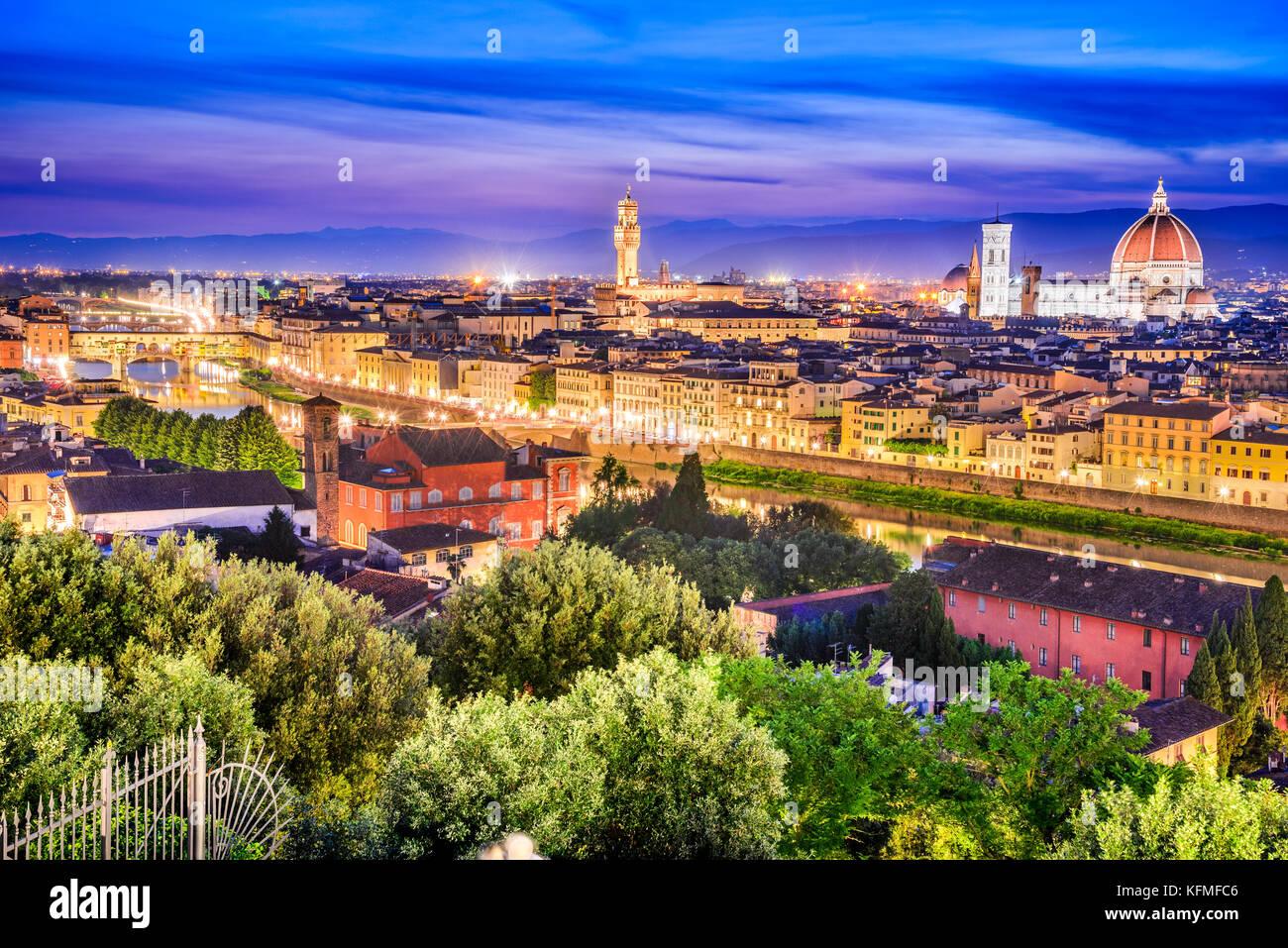 Florence, Tuscany - Night scenery with Duomo Santa Maria del Fiori and Palazzo Vecchio, Renaissance architecture Stock Photo