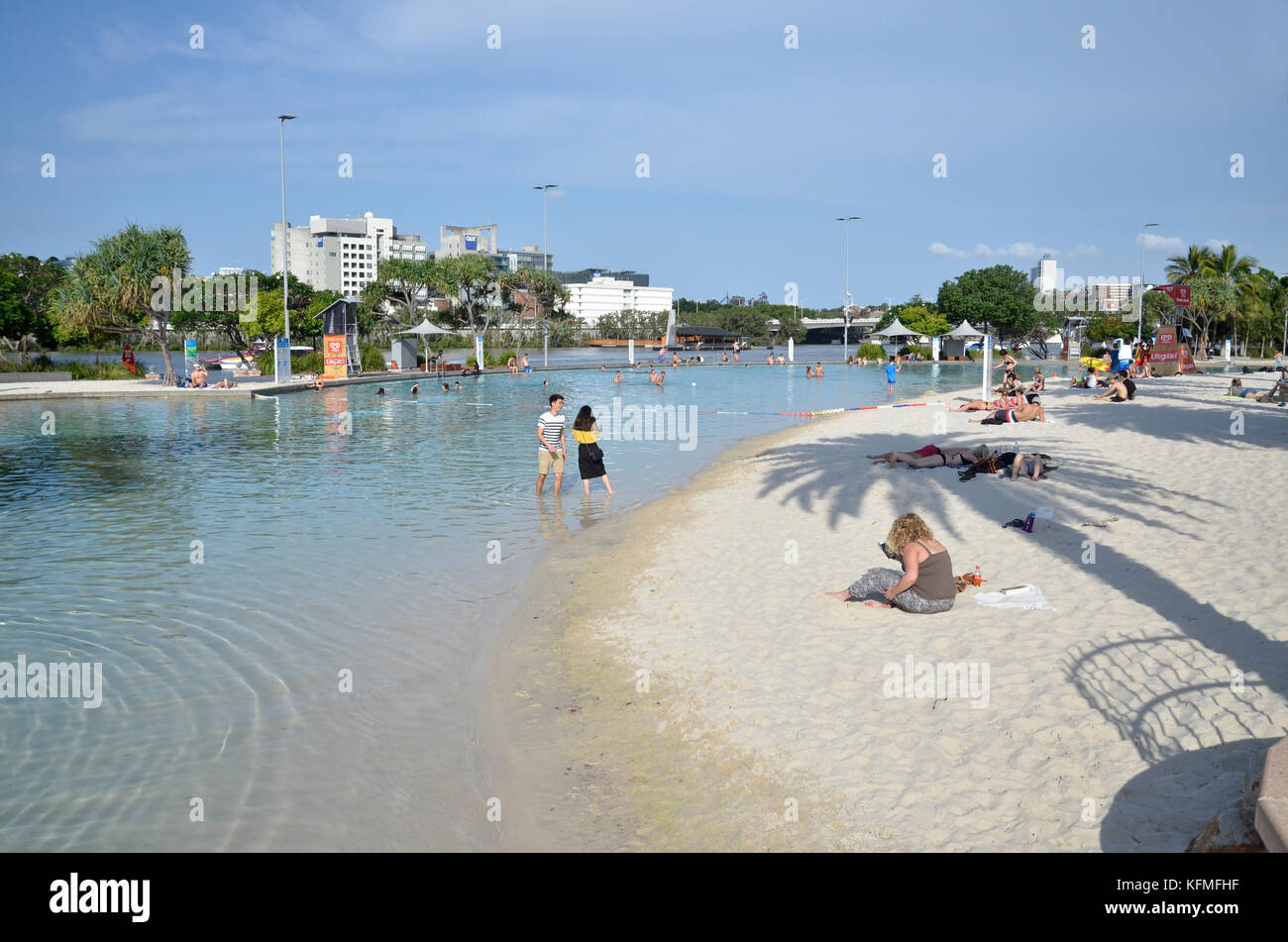 Streets Beach, an urban beach and swimming area on the South bank of Brisbane River in Brisbane, Queensland, Australia - Stock Image