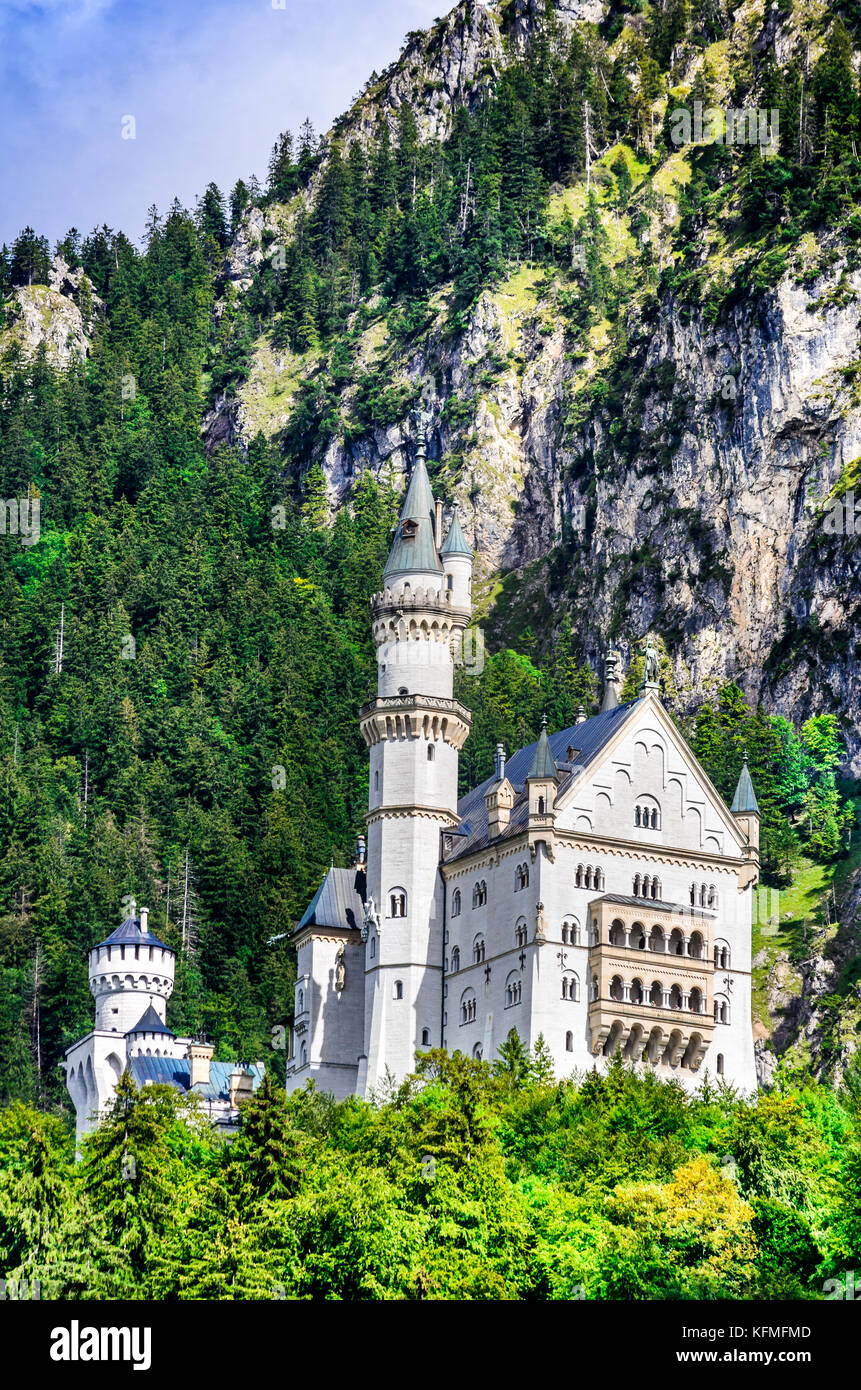 Neuschwanstein, Germany - Neuschwanstein Castle, Alps Mountainsd, southwest Bavaria. Stock Photo
