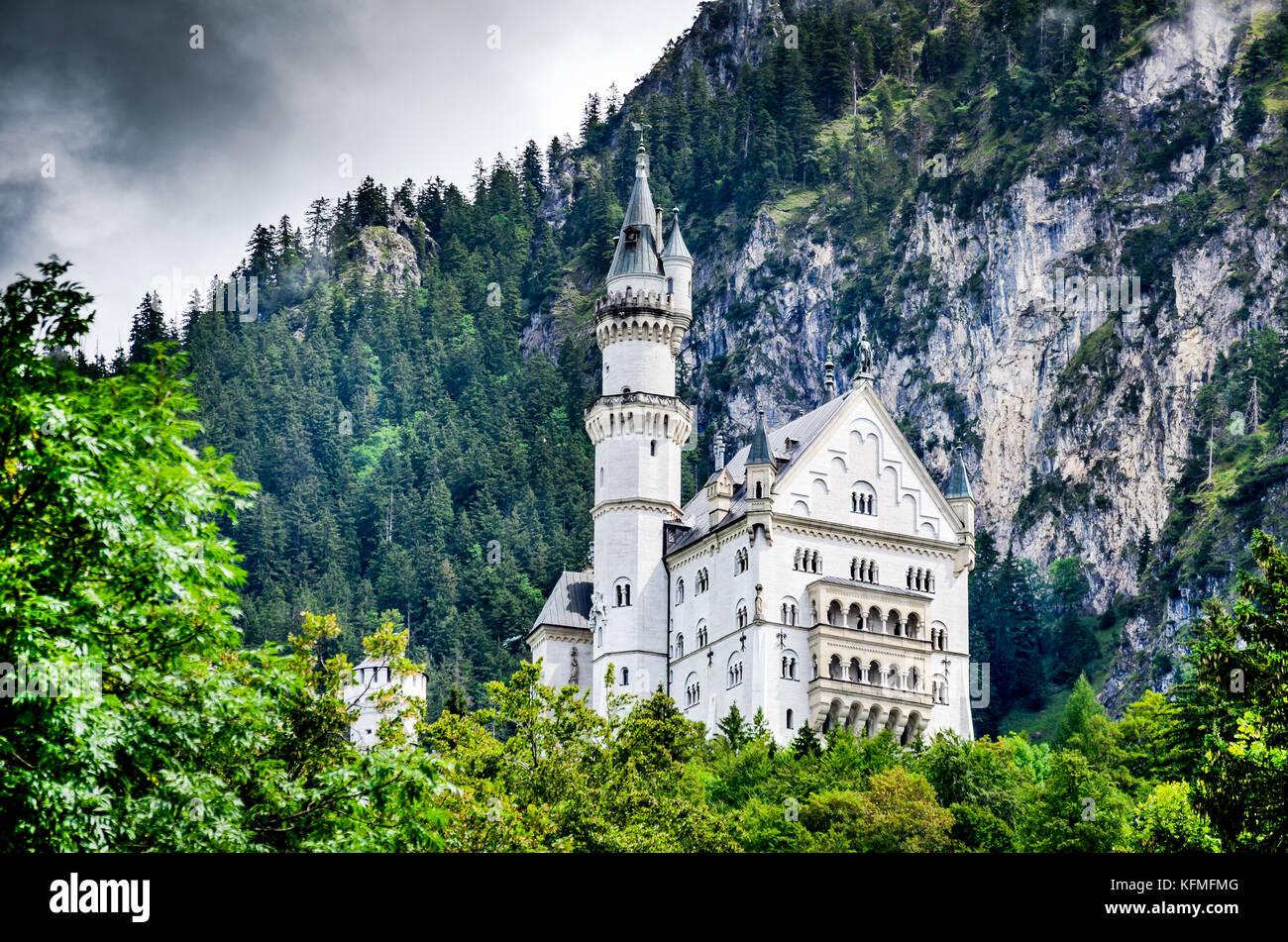 Neuschwanstein, Germany - Neuschwanstein Castle, Alps Mountainsd, southwest Bavaria. - Stock Image