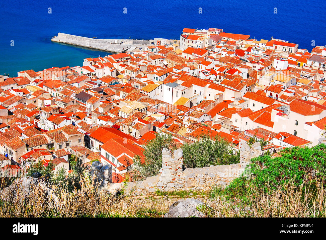 Cefalu, Sicily. Aerial medieval view of sicilian city Cefalu. Province of Palermo, Italy. - Stock Image