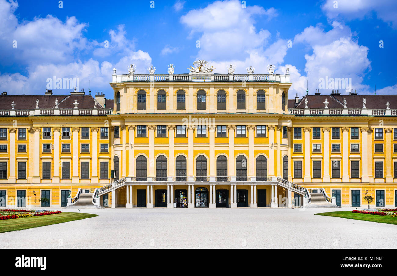 Austria. Schonbrunn Palace in Vienna. It's a former imperial 1,441-room Rococo summer residence in modern Wien - Stock Image