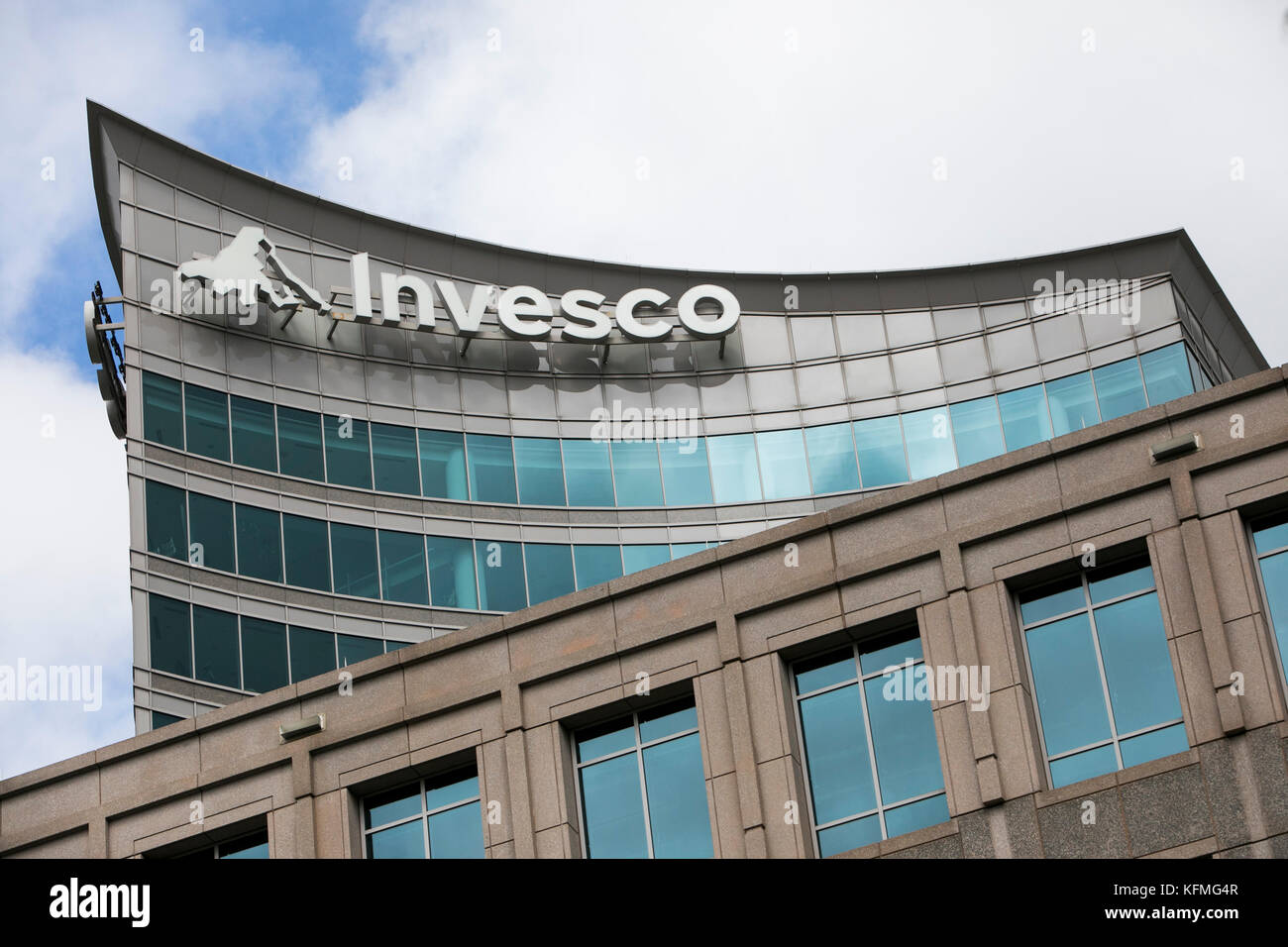 A logo sign outside of the headquarters of Invesco Ltd., in Atlanta, Georgia on October 7, 2017. - Stock Image