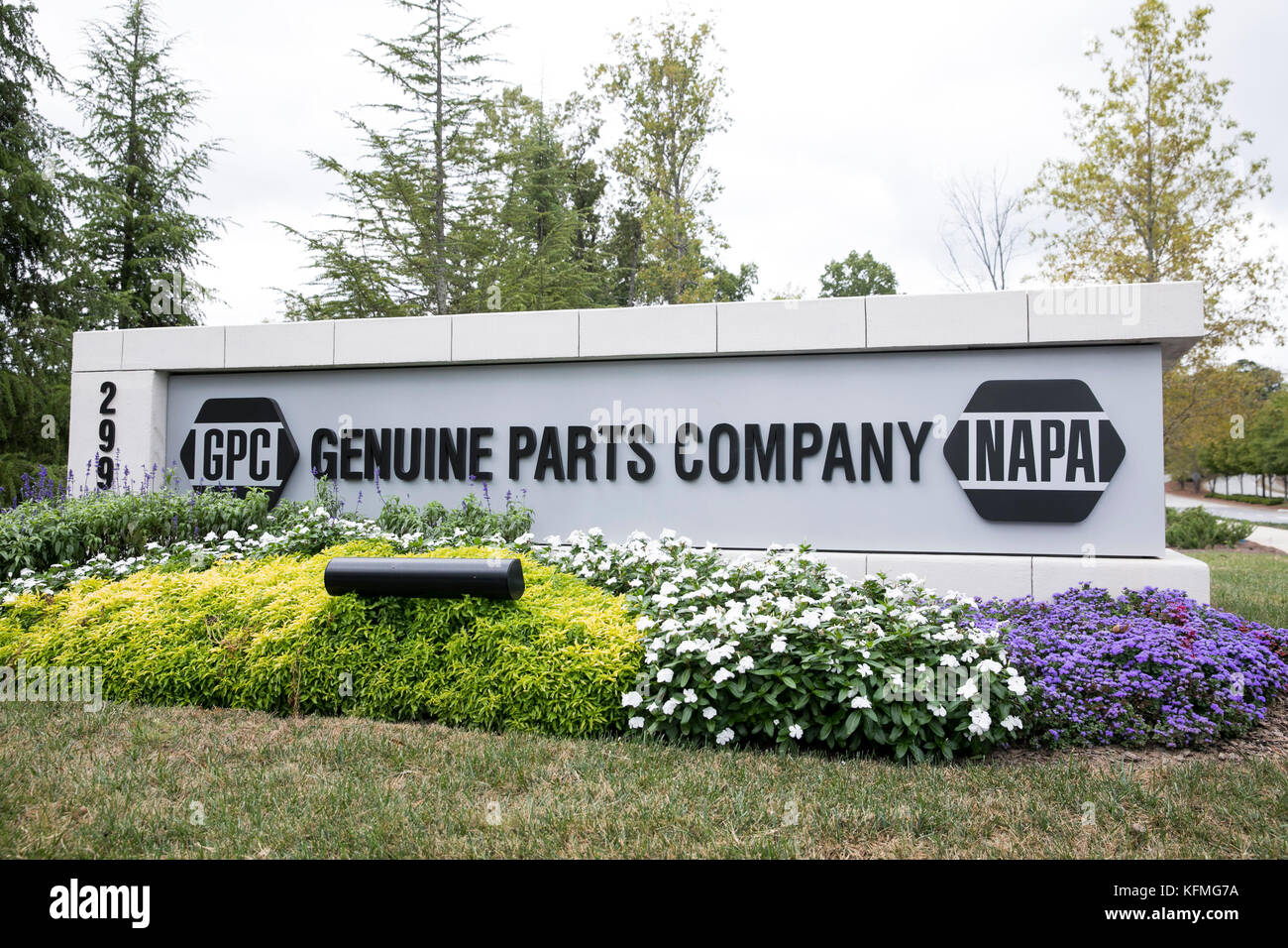 A logo sign outside of the headquarters of the Genuine Parts Company, parent company of NAPA Auto Parts, in Atlanta, - Stock Image