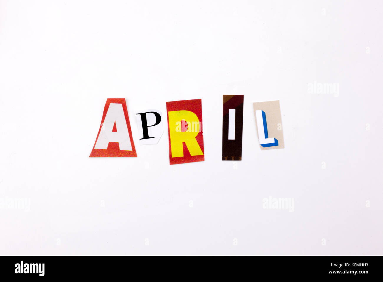 A word writing text showing concept of APRIL made of different magazine newspaper letter for Business case on the - Stock Image