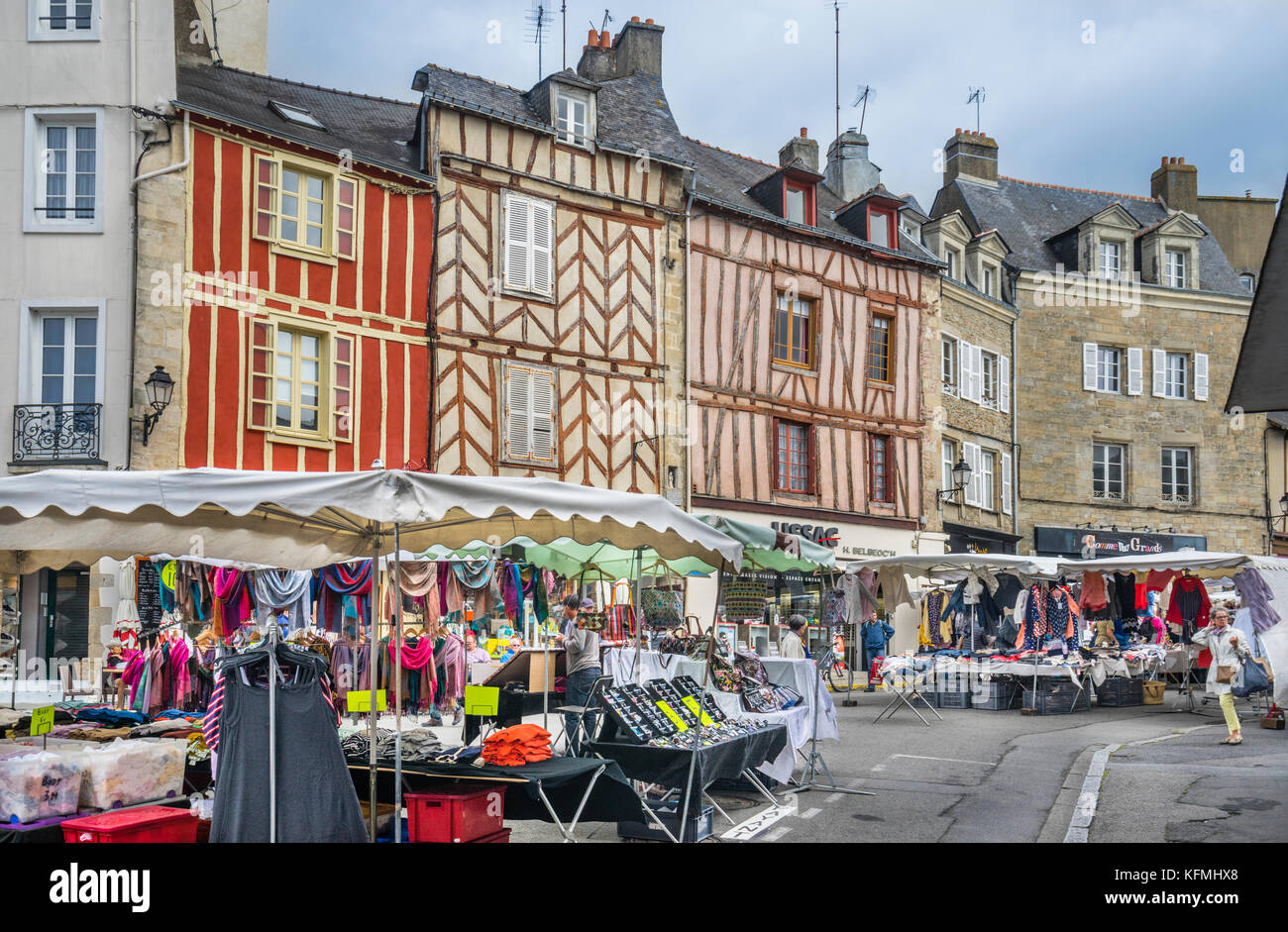 France, Brittany, Morbihan, Vannes, Wednesday Market at Place de Lices - Stock Image