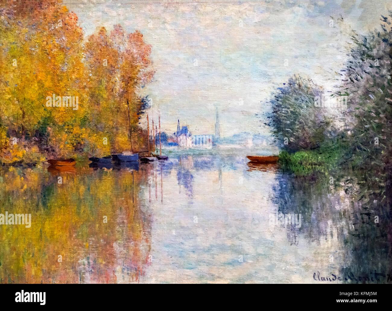 Autumn on the Seine, Argenteuil (Automne sur la Seine, Argenteuil)  by Claude Monet (1840-1926), oil on canvas, - Stock Image