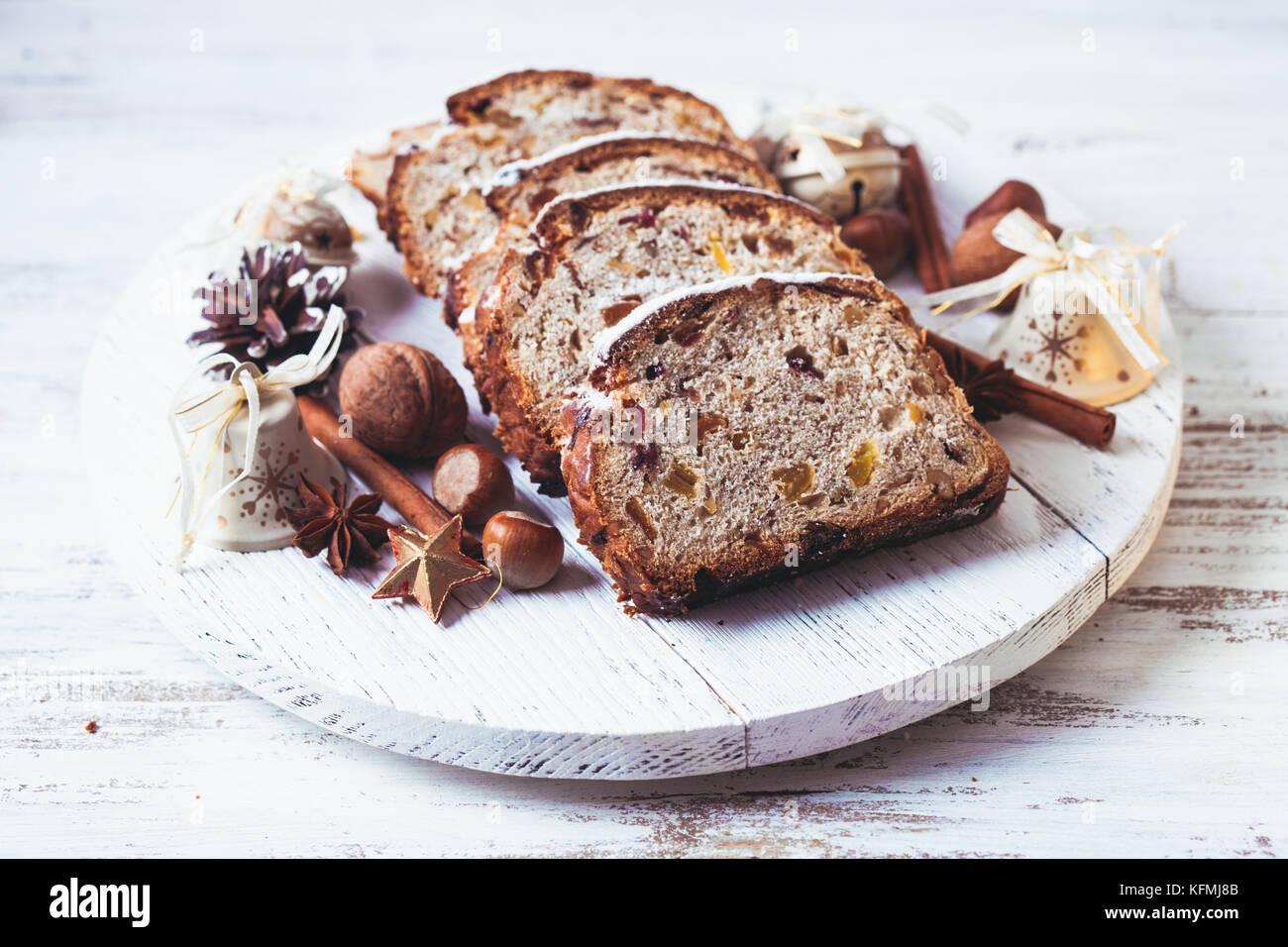 Christmas cake - Stollen - Stock Image