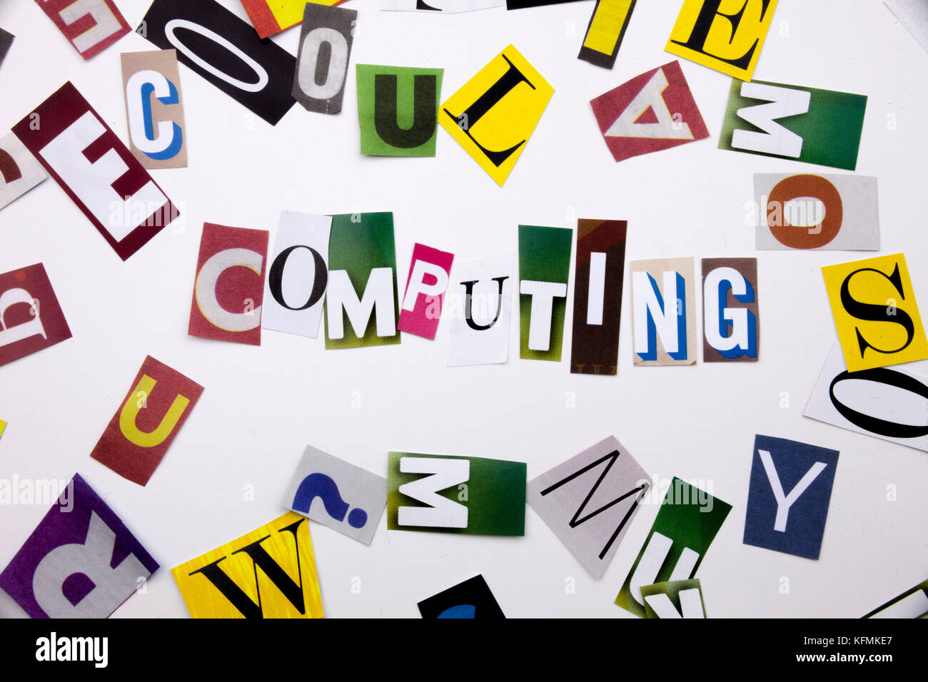 A word writing text showing concept of COMPUTING made of different magazine newspaper letter for Business case on - Stock Image