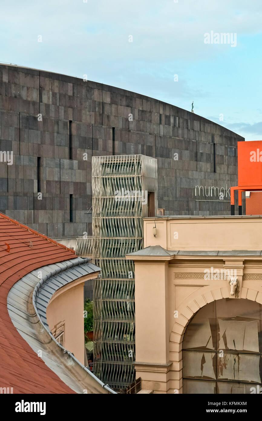 MUMOK, MUseum MOderner Kunst, (Museum of Modern Art). MuseumsQuartier Vienna, Wien, Austria, Europe. Glimpse on - Stock Image