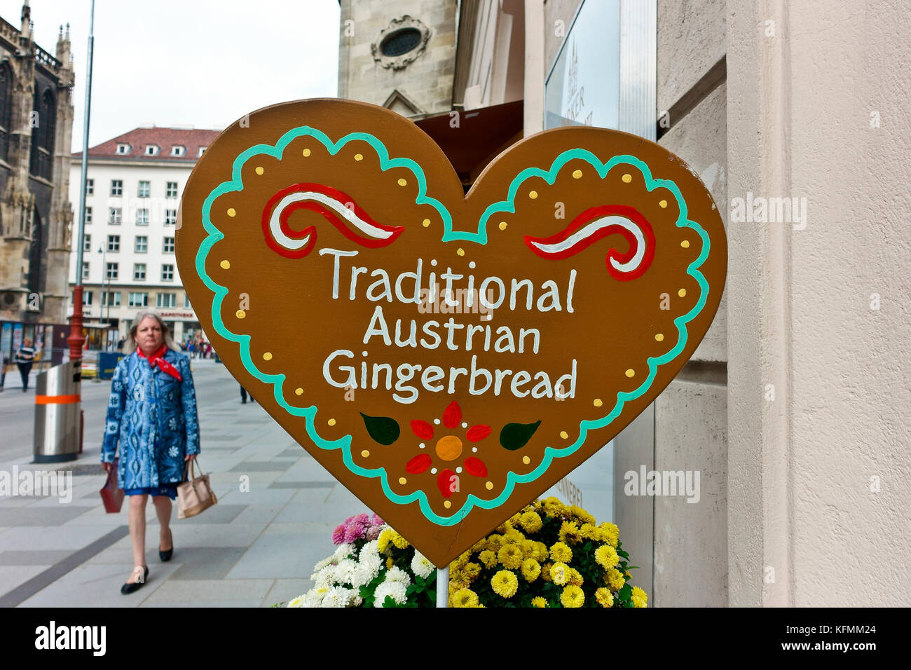 Traditional Austrian Gingerbread Shop Gingerbread Heart Shaped Sign