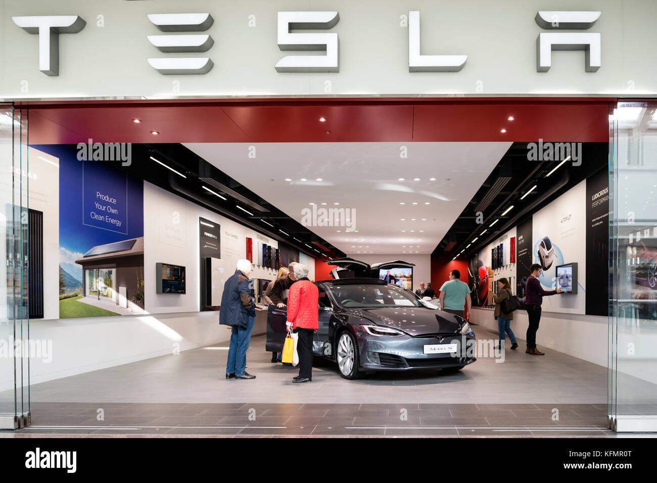 Tesla electric car model s for sale in a pop up store, UK Stock