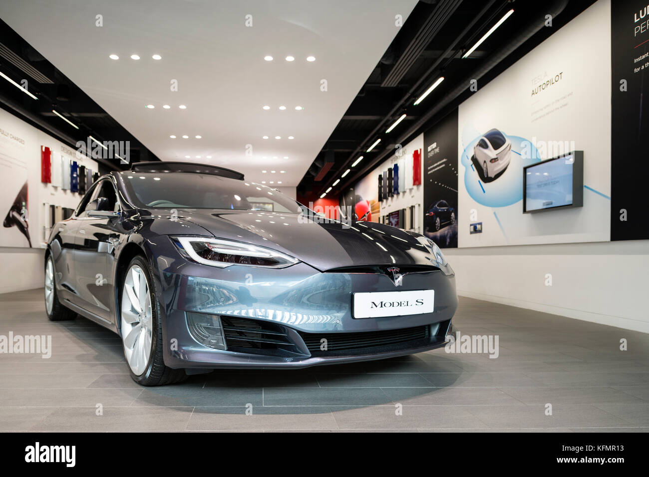 Tesla electric car model s for sale in a pop up store, UK. - Stock Image