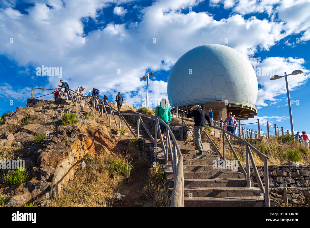 Air Defence Radar Station and people at the summit of Pico do Arieiro, Madeira, Portugal - Stock Image
