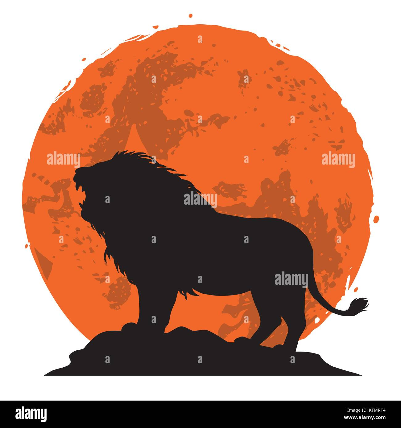 Lion Snarling on a Rock. Side View with Sunset Background. Vector Illustration - Stock Image