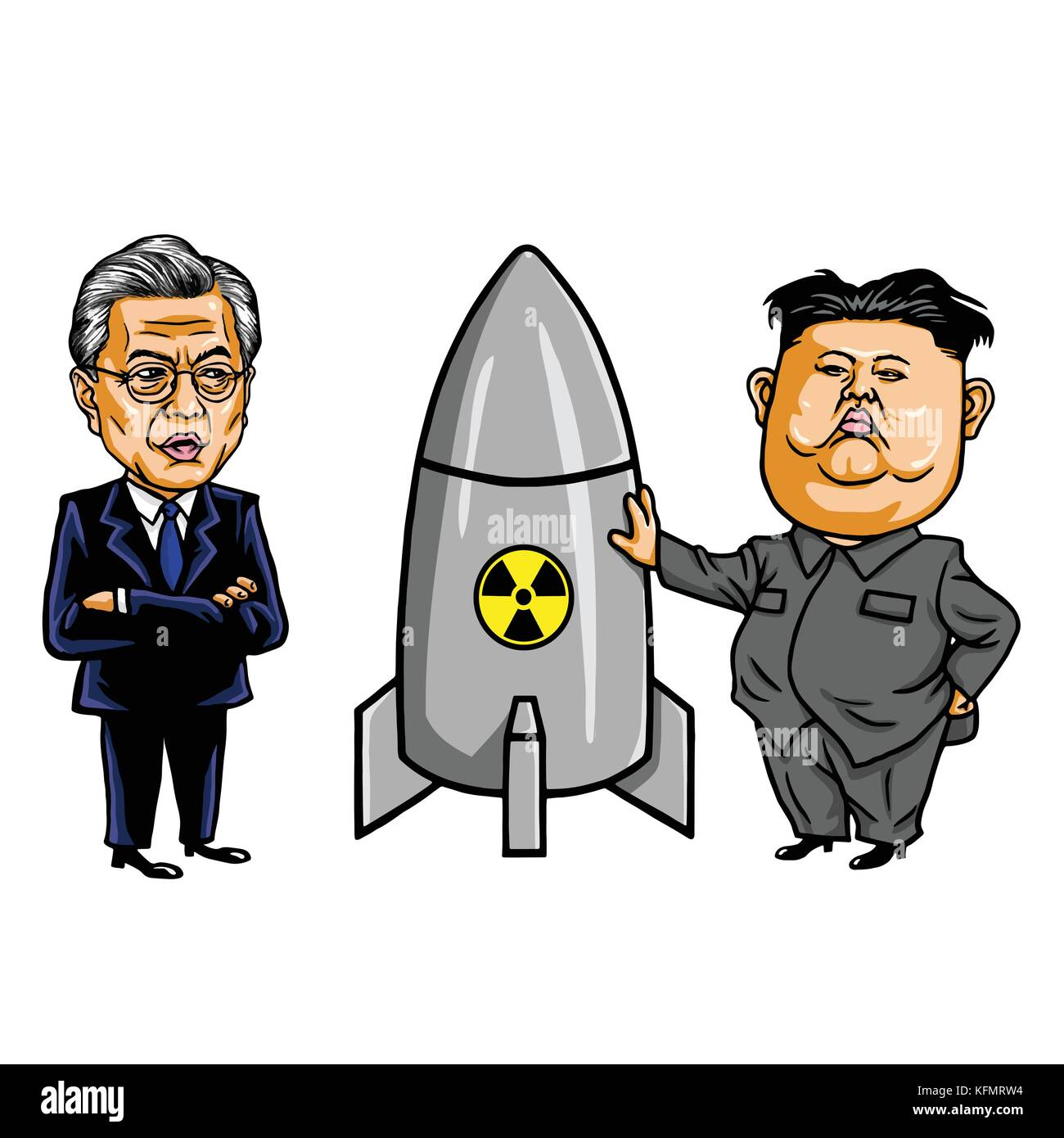 Kim Jong-un VS Moon Jae-in. Cartoon Caricature Vector Illustration. October 31, 2017 - Stock Vector