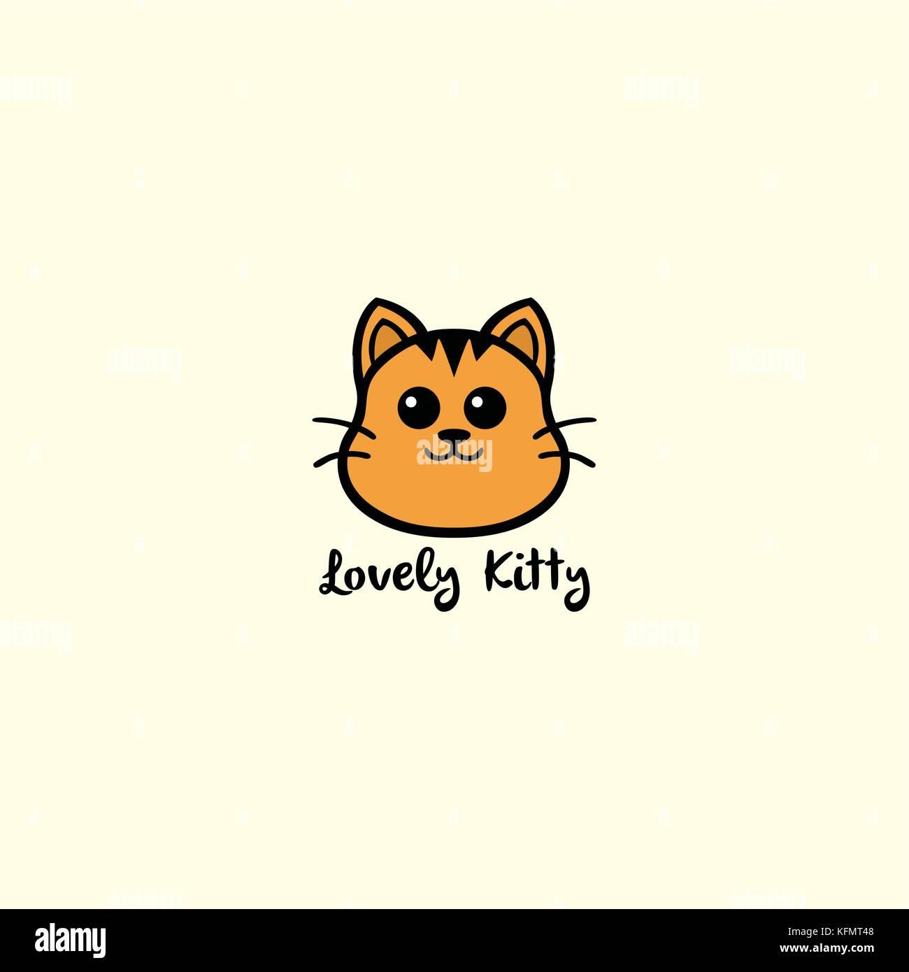 Lovely Kitty Cute Cat Logo Vector Design Illustration Stock Vector Image Art Alamy