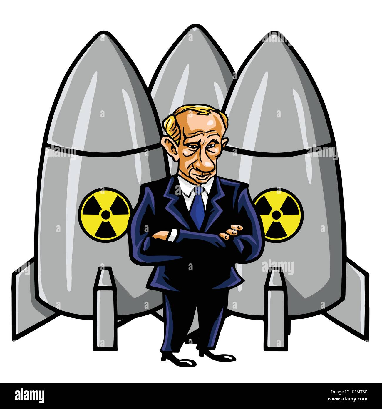 Vladimir Putin Cartoon with Nuclear Missiles. Vector Illustration. October 31, 2017 - Stock Image