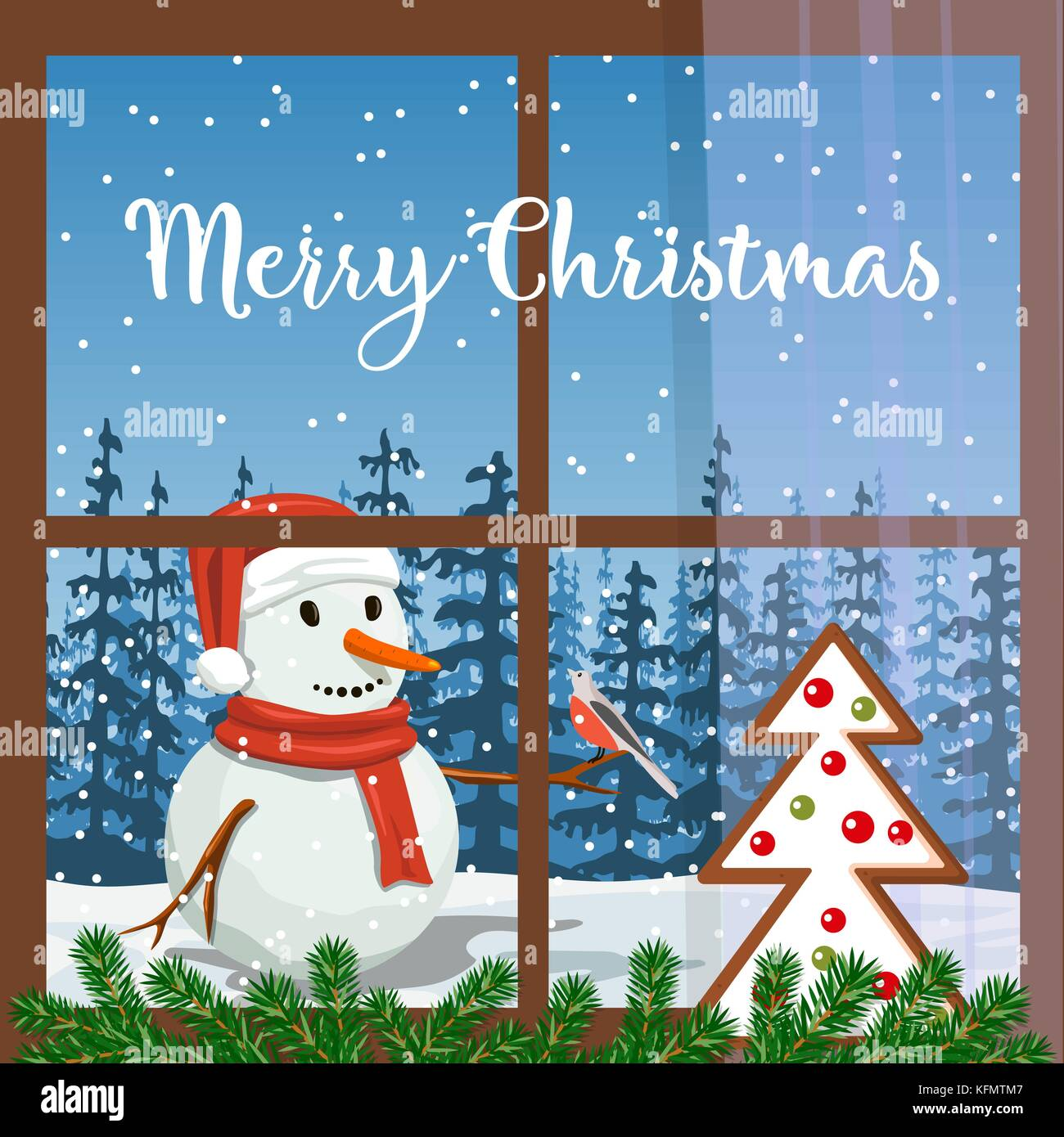 Christmas decorated window, with fir garland, gingerbread. View of Smiling Snowman Frosty in santa hat with bullfinch, - Stock Vector