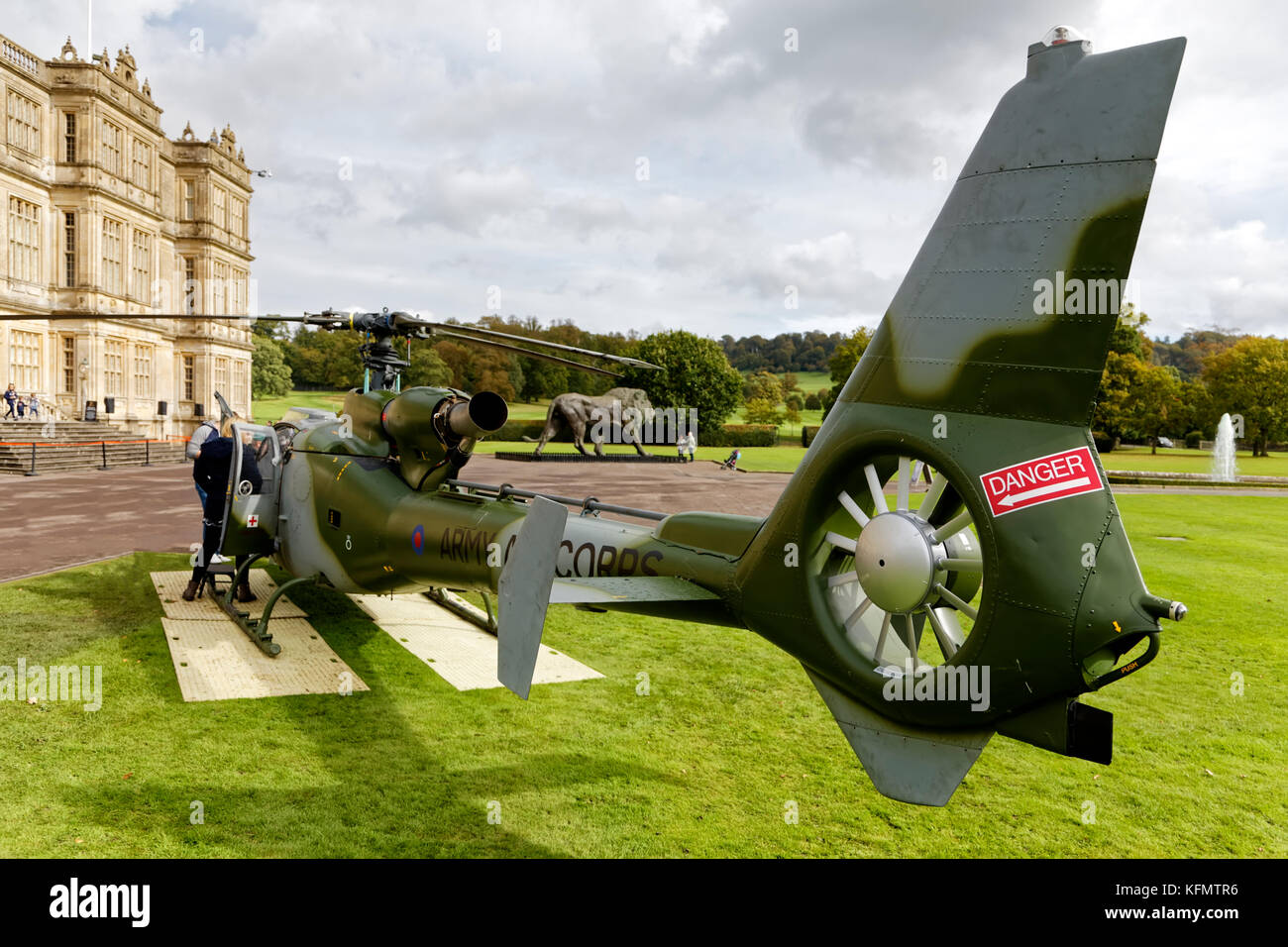 A British Army Air Corps Westland Gazelle AH.1 Helicopter on display at the Longleat Military Spectacular 2017 - Stock Image