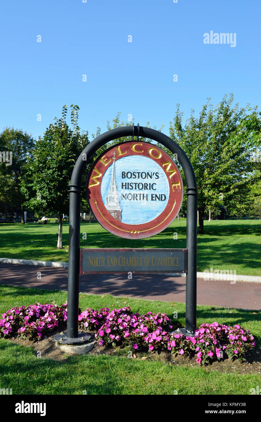 Sign for Boston Historic North End - Stock Image