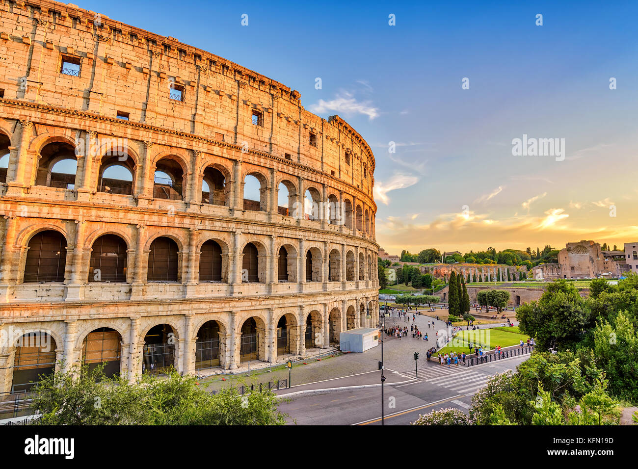 Rome sunset city skyline at Rome Colosseum (Roma Coliseum), Rome, Italy - Stock Image