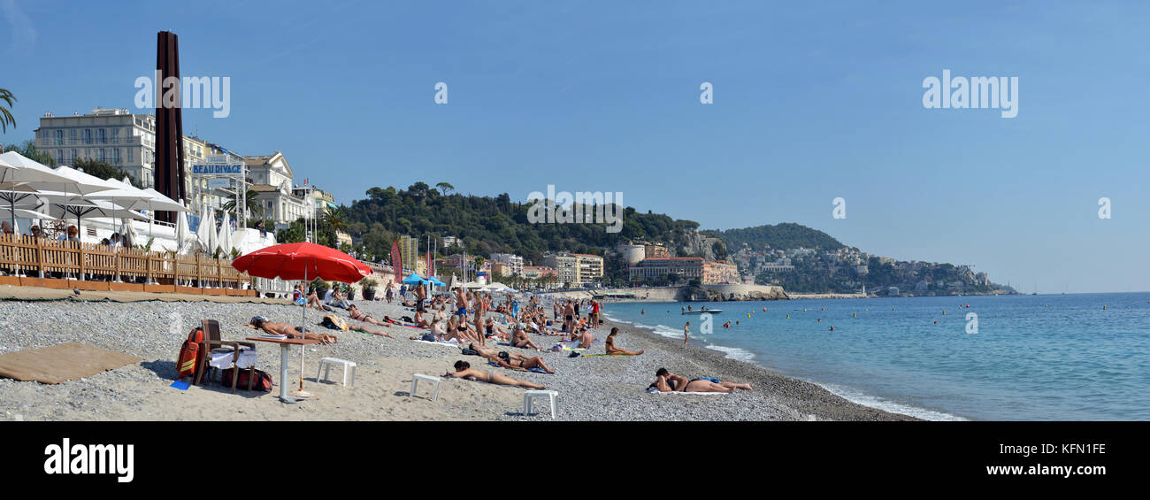 Nice, France - September 27, 2017:  Stony Beach & Modern Art Panorama. - Stock Image