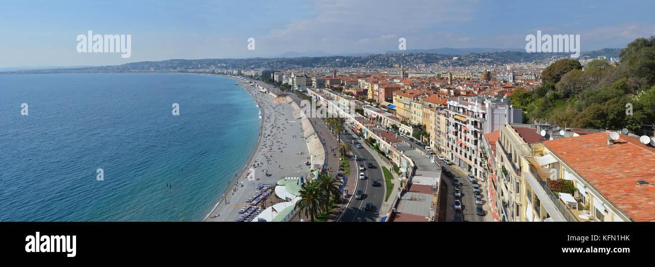 Nice, France - September 27, 2017: Aerial Panorama of Nice  Beaches & Promenade Des Anglais, Cote d'Azur, - Stock Image