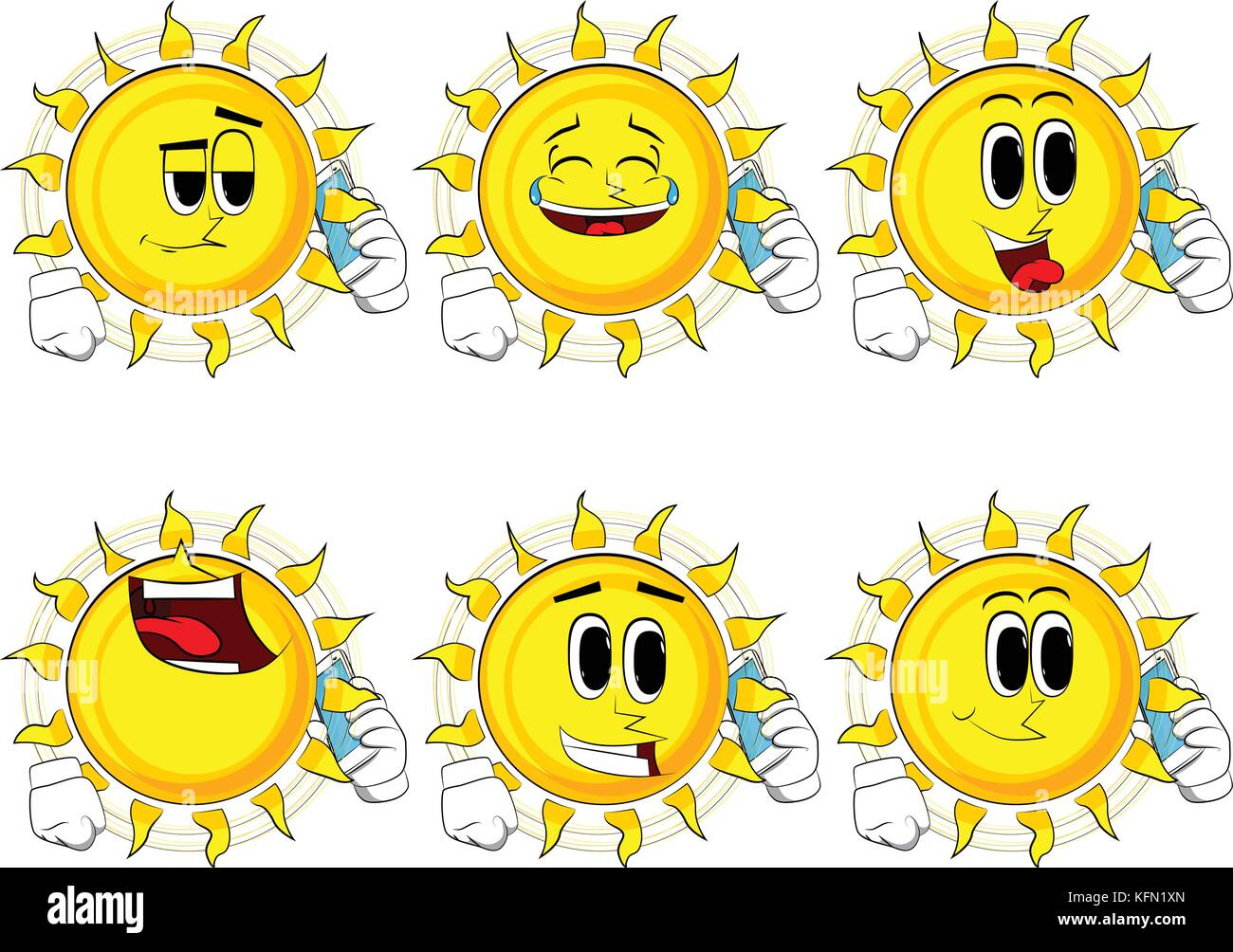 Cartoon sun talking on cell phone. Collection with happy faces. Expressions vector set. - Stock Image