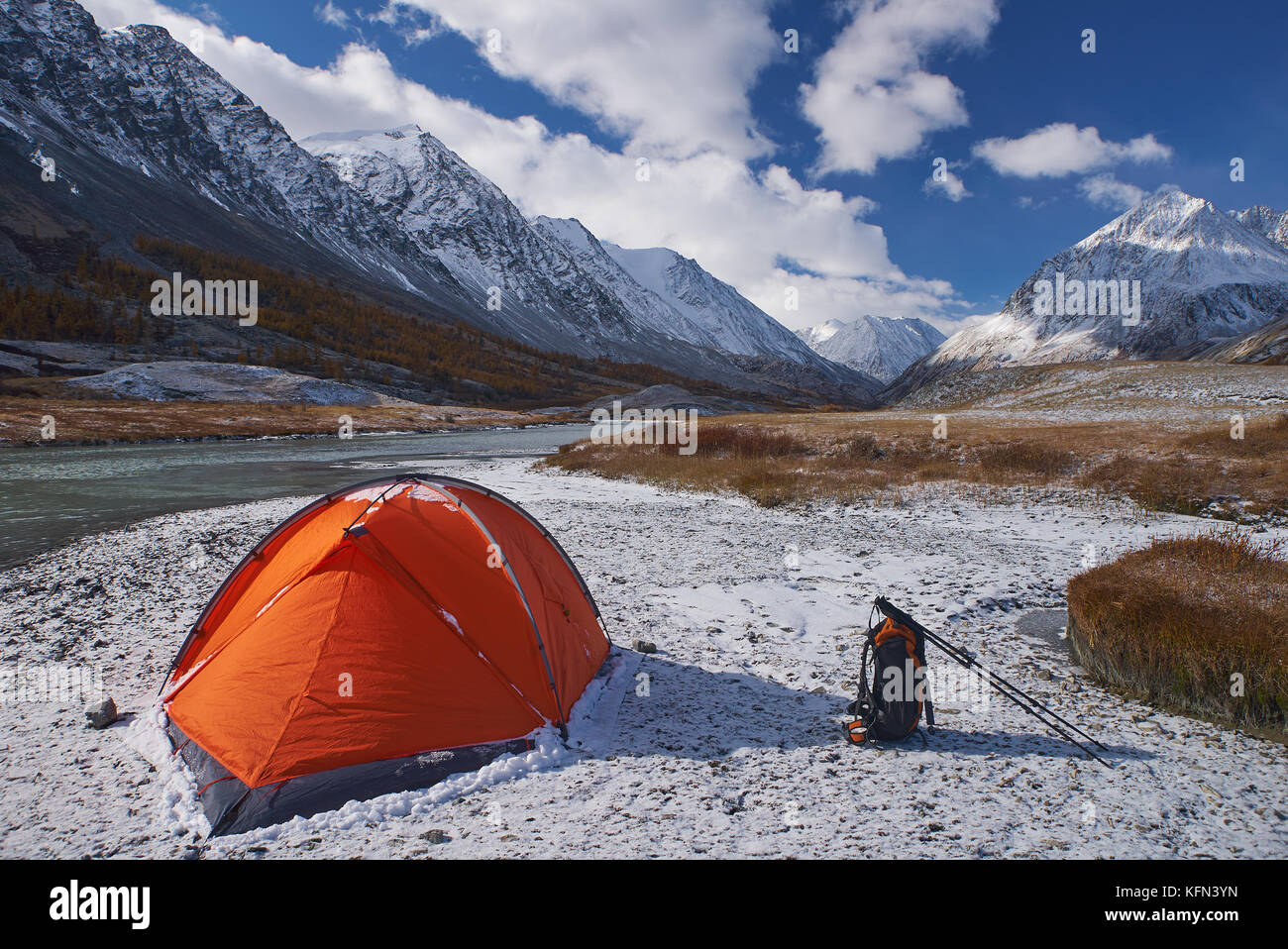 Campsite and Tent with backpack in the Mountains - Stock Image