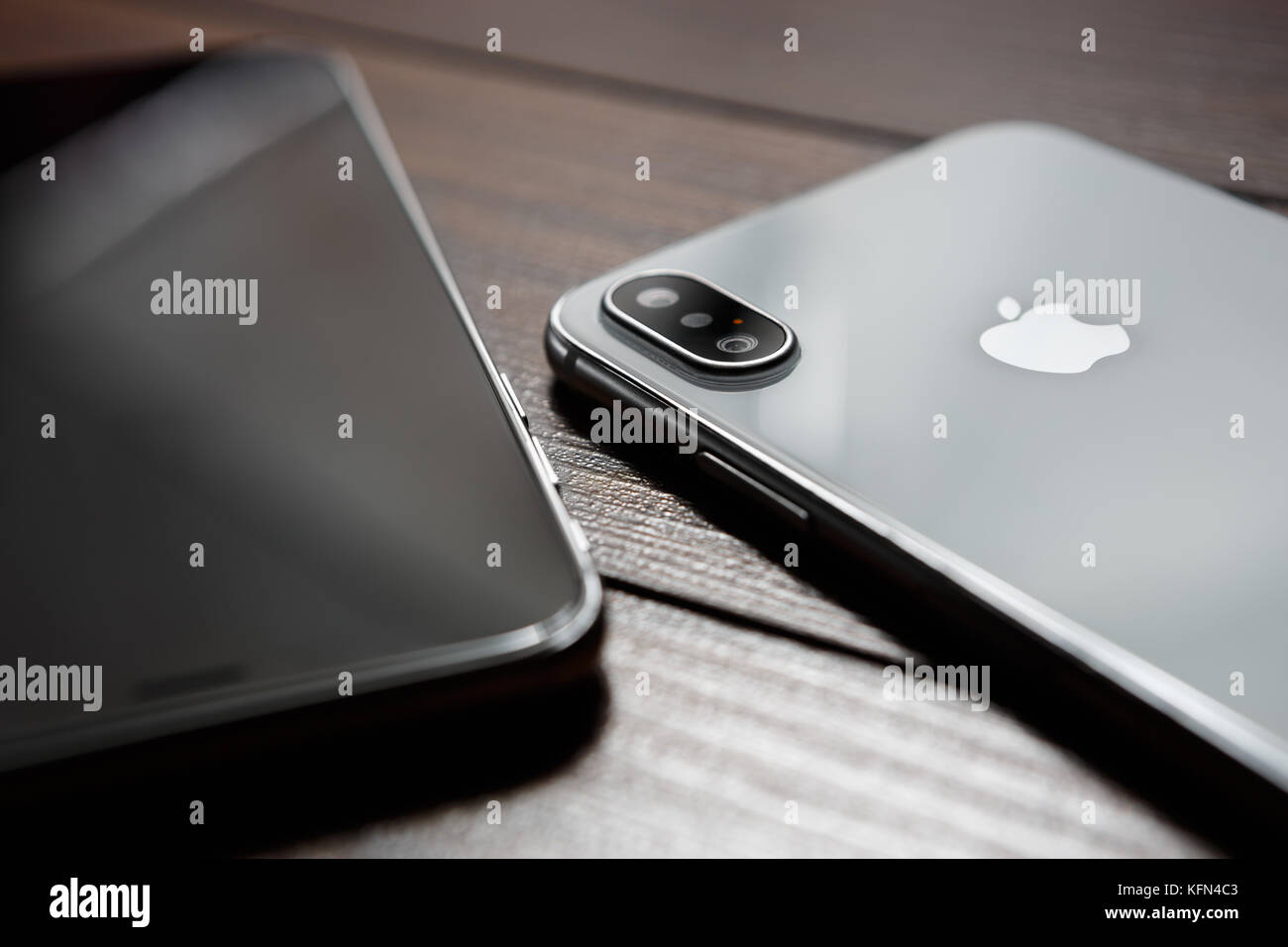 MARIUPOL,UKRAINE-30 OCTOBER,2017: New Iphone X smart phone in close up.Latest Apple Iphone 10 mobile phone model.Illustrative - Stock Image