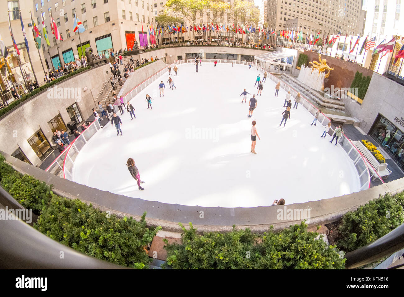 Rockefeller Center ice-skating rink in Midtown Manhattan in New York City, NY, United States of America, U.S.A - Stock Image