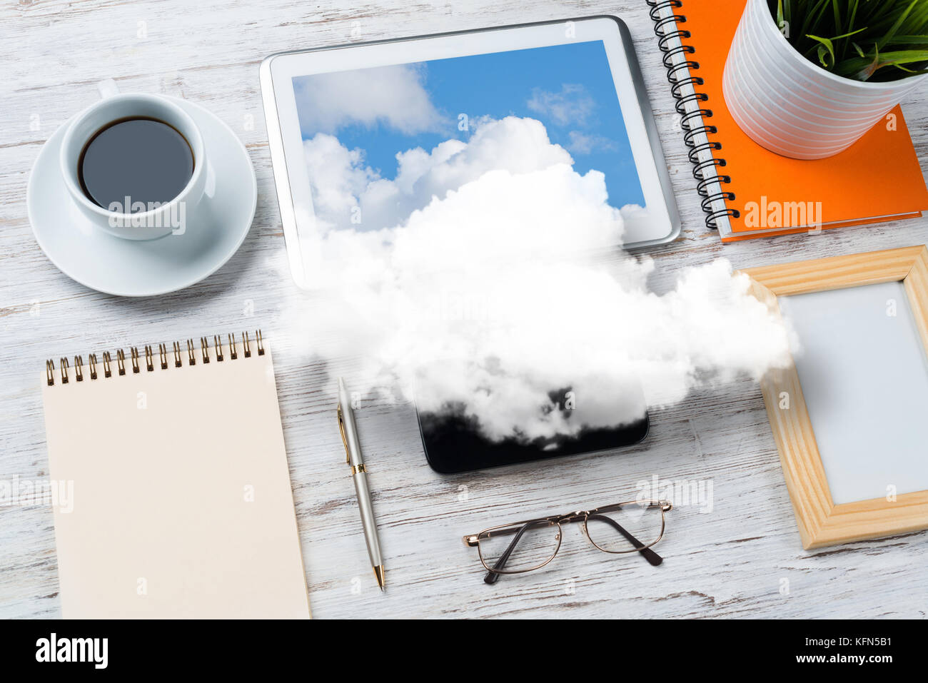 Concept of modern business workplace. - Stock Image