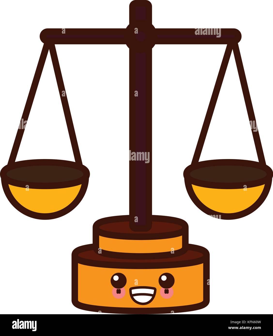 justice balance symbol cute kawaii cartoon - Stock Vector