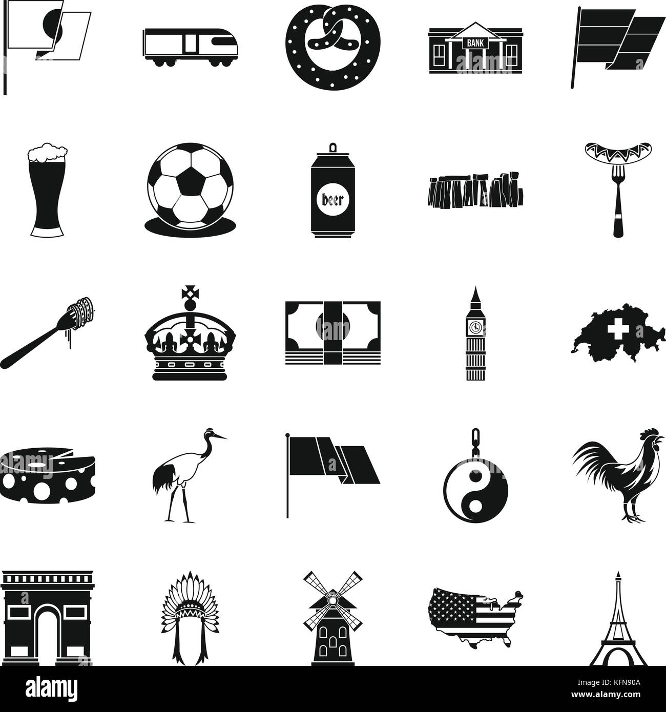 Exploring icons set, simple style - Stock Vector