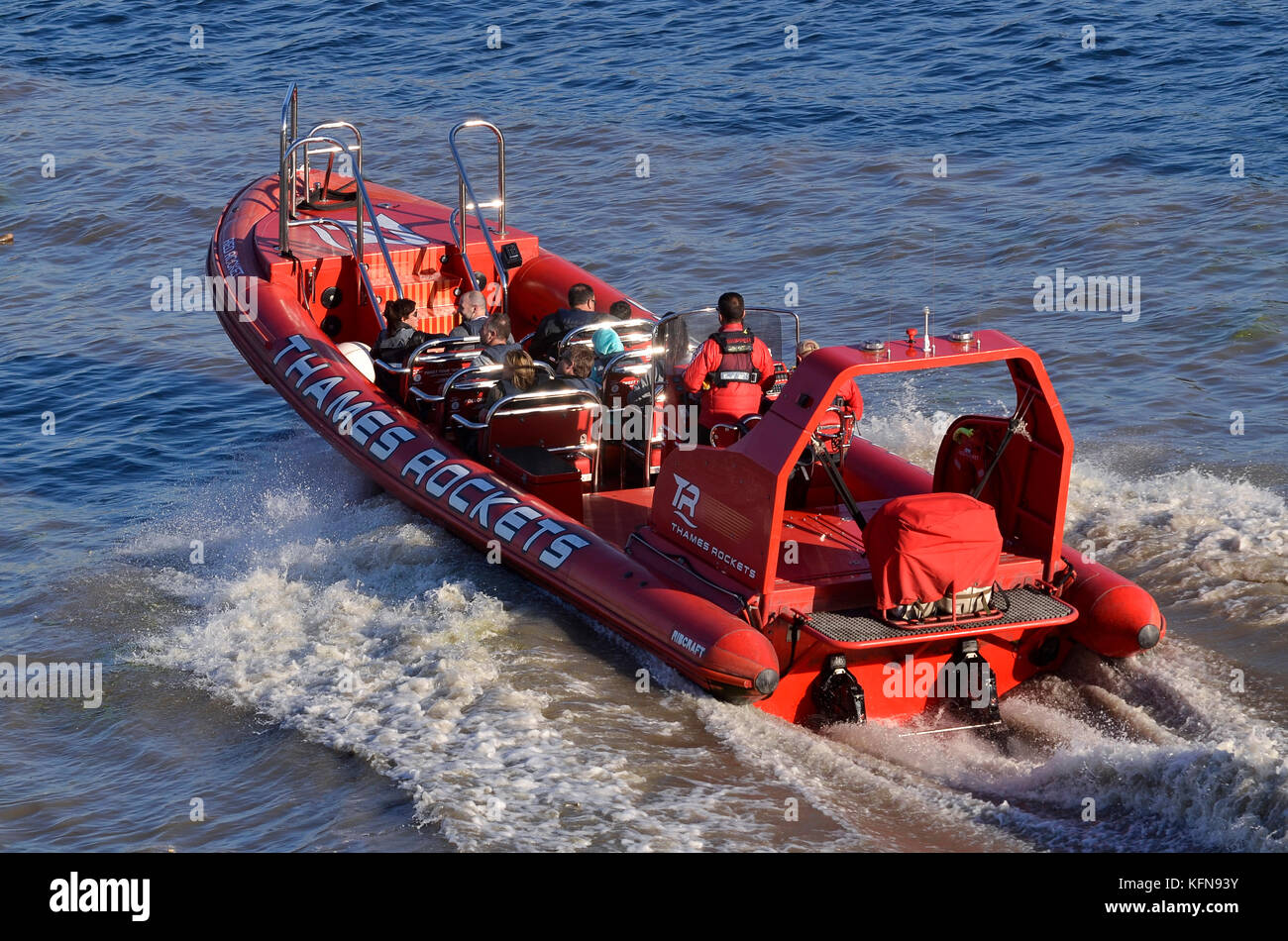 Thames Rockets speedboat tourist ride, River Thames, London, UK. - Stock Image