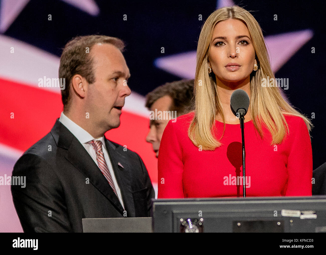 Cleveland Ohio, USA, 21th July , 2016 Rick Gates stands beside Ivanka Trump during the sound checks  on stage in - Stock Image