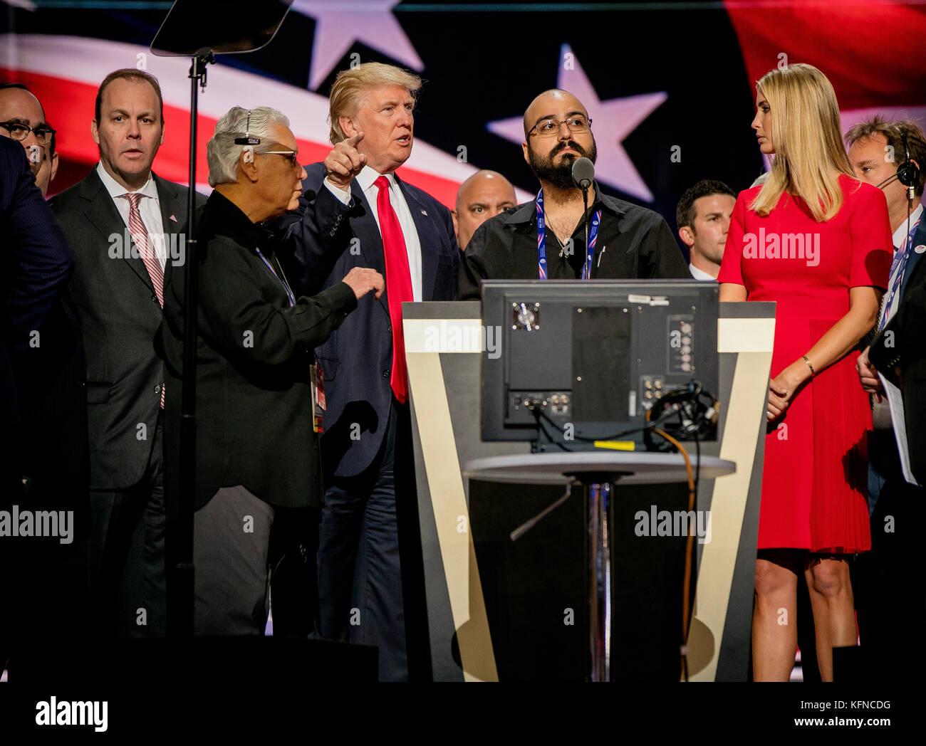 Cleveland Ohio, USA, 21th July , 2016 Donald Trump, Rick Gates, Ivanka Trump  during the sound checks  on stage - Stock Image