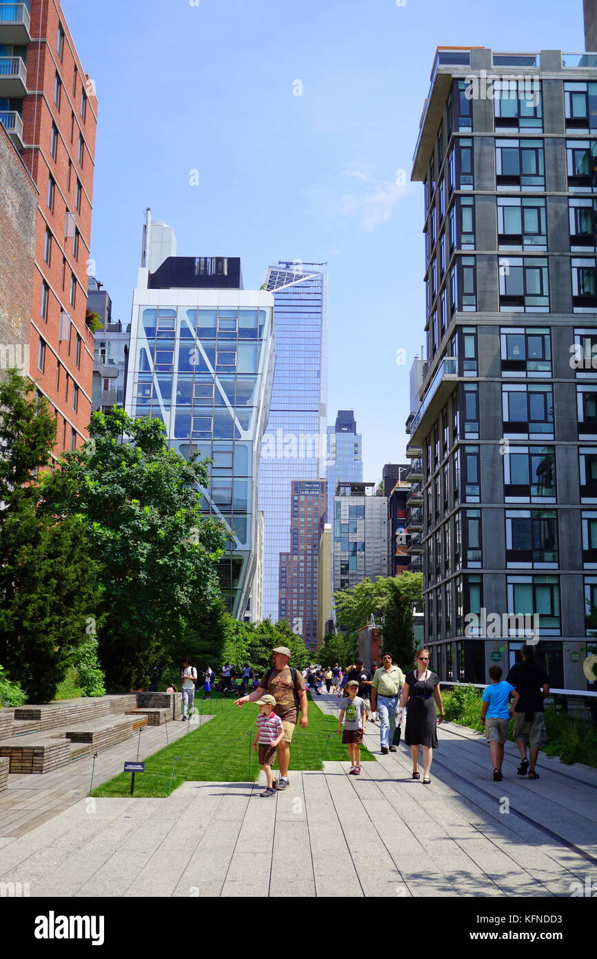 Visitors Walking On The New York City Highline (an Elevated Garden), NYC,  NY, USA