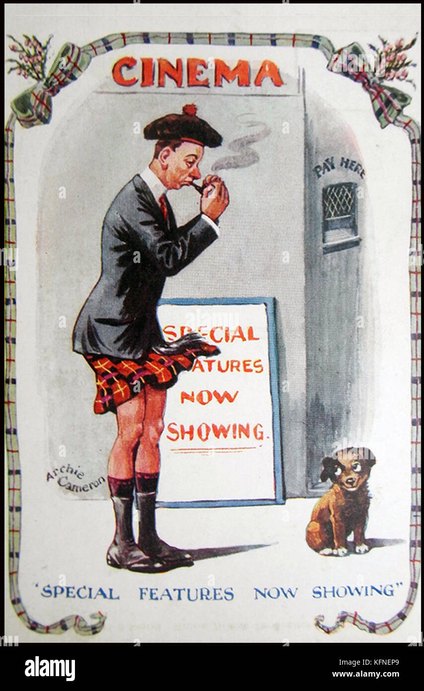A British Comic Postcard from the 1920's showing a kilted pipe smoking Scotsman outside of a cinema with a poster - Stock Image